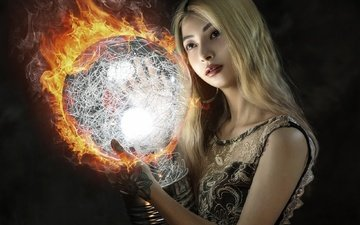 girl, look, fire, ball, hair, face, makeup