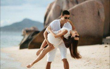 девушка, море, пляж, парень, очки, влюбленные