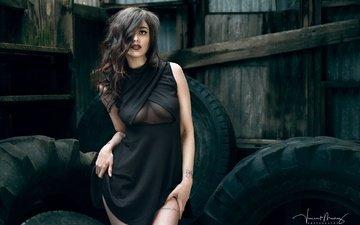 девушка, поза, брюнетка, взгляд, модель, волосы, лицо, черное платье