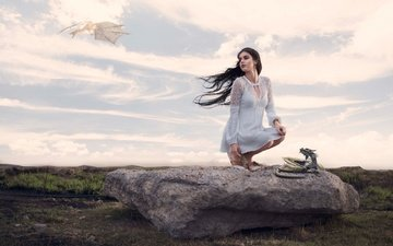 the sky, clouds, girl, the situation, stone, dragons, white dress, long hair