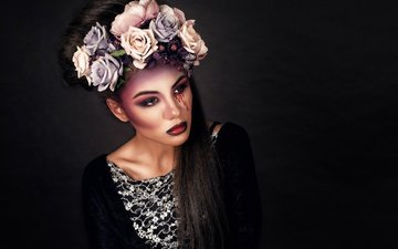 девушка, розы, темный фон, макияж, венок, в чёрном, кровавые слезы, грим, shraibikus71