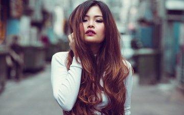 девушка, взгляд, модель, волосы, губы, лицо, азиатка, боке