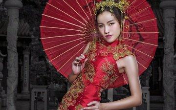 украшения, стиль, девушка, поза, взгляд, волосы, зонт, лицо, азиатка, красное платье