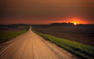 road, the sun, nature, sunset, landscape, field, horizon, twilight, hill, the sun's rays