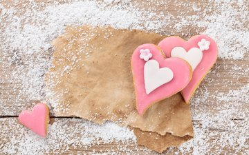 food, paper, heart, board, sugar, cookies, powder