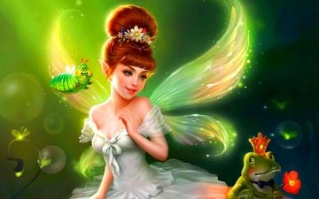 fantasy, wings, fairy, frog, caterpillar
