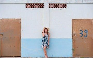 девушка, фон, платье, стена, модель, лицо, шляпа, азиатка, двери
