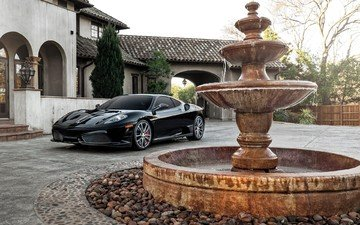 fountain, car, ferrari, mansion, sports car, ferrari f430