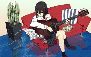 вода, девушка, гитара, взгляд, аниме, волосы, лицо, диван