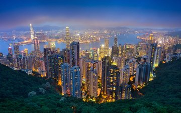 night, river, city, skyscrapers, china, hong kong