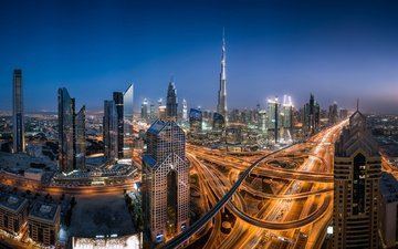 night, city, panorama, skyscrapers, night city, road, building, dubai, uae