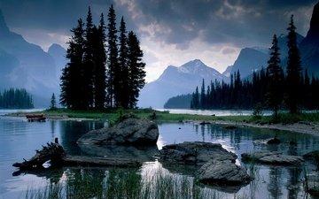 деревья, река, природа, камни, канада, провинция альберта, канада. alberta, джаспер парк