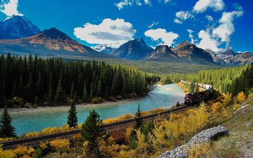 mountains, railroad, nature, the way, train, canada, albert, mountain river, banff, composition, locomotive