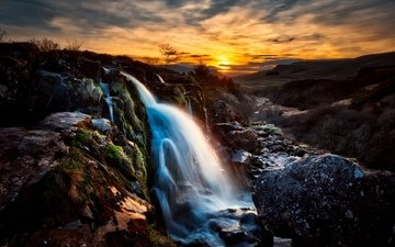 mountains, waterfall, scotland