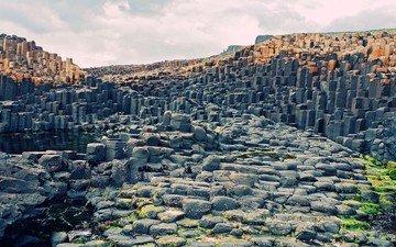 nature, landscape, park, canyon, stone, valley, plateau, ireland, basalt columns
