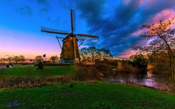 channel, mill, netherlands, holland
