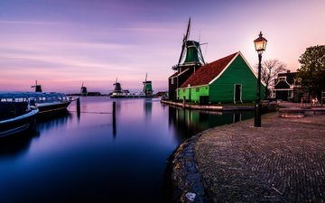 water, reflection, village, channel, mill, home, netherlands, holland, zaanse schans