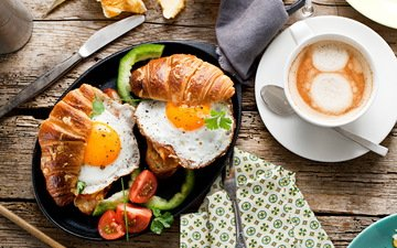 coffee, breakfast, tomato, spoon, croissants, scrambled eggs