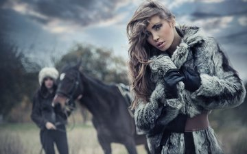 horse, look, girls, hair, face, makeup, model, coat