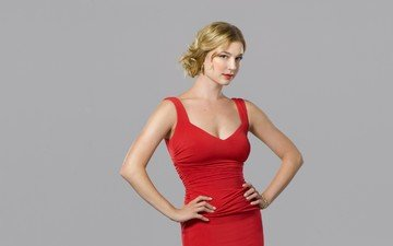 girl, look, hair, face, red dress, actress, emily vancamp