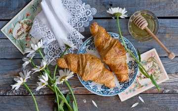 flowers, napkin, honey, croissants, homemade breakfast