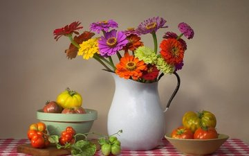 flowers, bouquet, vegetables, pitcher, tomatoes, still life, zinnia