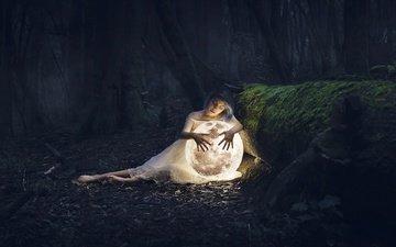 лес, девушка, настроение, планета, ситуация, луна, темнота, закрытые глаза