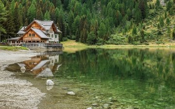 lake, nature, forest, landscape, house, italy, pine