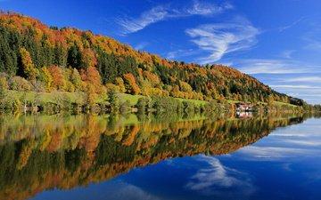небо, облака, деревья, озеро, берег, лес, листья, отражение, осень, германия, бавария