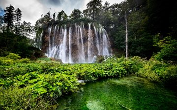 lake, nature, forest, waterfall, croatia, waterfalls, plitvice lakes national park