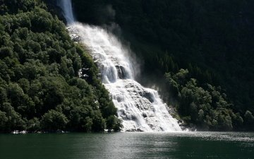 nature, forest, waterfall, norway, geiranger fjord