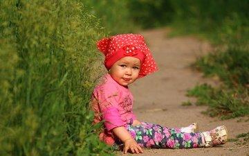 grass, summer, look, girl, child, baby