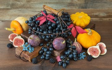 leaves, grapes, board, berries, vegetables, fruit, basket, pumpkin, blackberry, figs