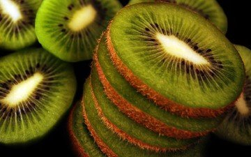 macro, fruit, slices, kiwi