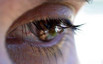 girl, macro, face, eyes, tear