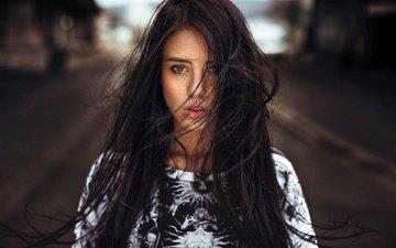 девушка, портрет, брюнетка, модель, волосы, лицо, ветер, julia carina, мартин кюн, nпортрет