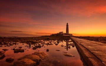 stones, sea, lighthouse, coast, england, glow, the st. mary's lighthouse