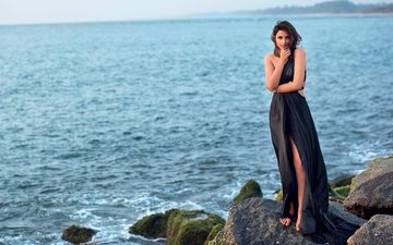 the sky, stones, girl, sea, look, coast, hair, face, actress, black dress, indian, priniti chopra