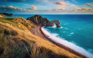 the sky, clouds, rocks, sea, beach, coast, england, arch, dorset, the jurassic coast