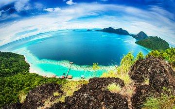 небо, скалы, море, пляж, горизонт, панорама, вид сверху, побережье, бунгало, тропики, малайзия, bohey dulang island