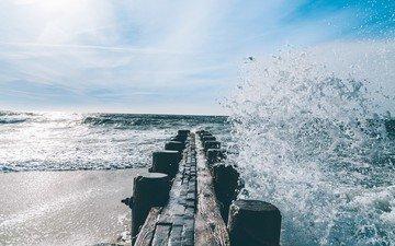 облака, берег, море, пляж, горизонт, волна, брызги, океан