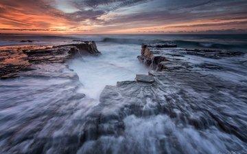 море, утро, пляж, океан, австралия, новый южный уэльс, уэльс, океана, королевский национальный парк