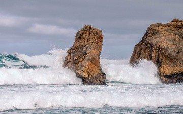 небо, вода, природа, берег, море, скала, волна, океан, камень, мыс