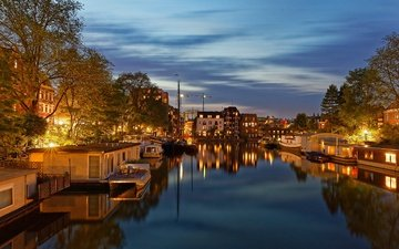 the sky, trees, lights, the evening, river, yachts, boats, channel, home, netherlands, amsterdam