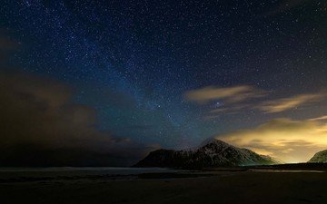 the sky, clouds, lights, mountains, nature, landscape, sea, stars, beach, the milky way, snow peak, arctic