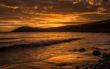 the sky, clouds, stones, sunset, sea, uk, coast