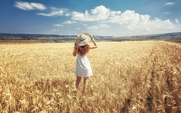 the sky, clouds, the sun, girl, landscape, dress, pose, field, red, ears, in white, hat