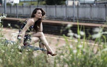 небо, платье, лето, модель, ножки, лицо, erika