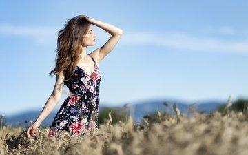the sky, girl, dress, field, model, hair, face, closed eyes, erika