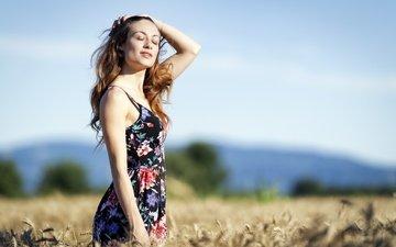 the sky, girl, dress, field, hair, face, closed eyes, erika